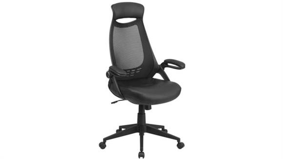 Office Chairs Innovations Office Furniture High-Back Mesh Executive Swivel Chair with Leather Seat and Flip-Up Arms