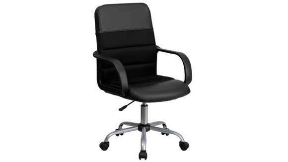 Office Chairs Innovations Office Furniture Mid-Back Leather and Mesh Swivel Chair with Arms