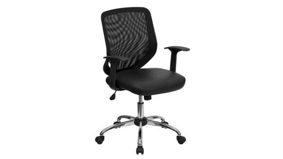 Office Chairs Innovations Office Furniture Mid-Back Mesh Swivel Chair with Leather Seat and Arms