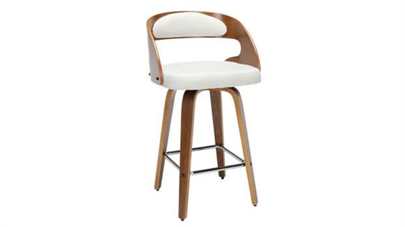 """Counter Stools OFM 26""""H Wood and Fabric Swivel Counter Stool"""