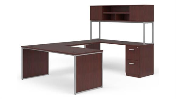 """U Shaped Desks OFM 72"""" U-Desk with Hutch Set"""