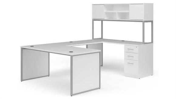 """U Shaped Desks OFM 66"""" U-Desk with Hutch Set"""