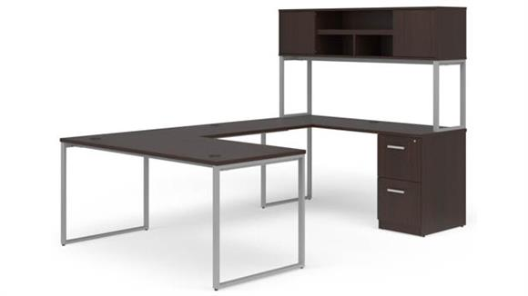 "U Shaped Desks OFM 66"" U-Desk with Hutch Set"