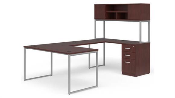 """U Shaped Desks OFM 60"""" U-Desk with Hutch Set"""