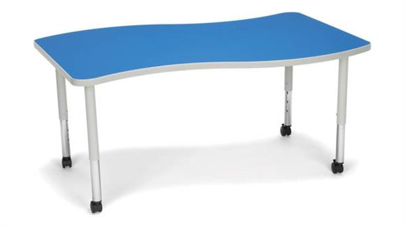 Activity Tables OFM Wave Large Top Small Leg Table with Casters