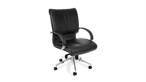 Office Chairs OFM Executive Leather Mid Back Chair