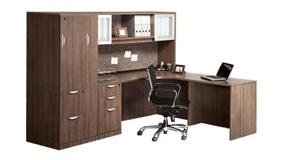 L Shaped Desks Office Source Desk With Hutch And Wardrobe Storage