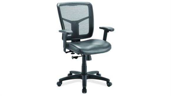 Office Chairs Office Source Cool Mesh Task Chair with Leather Seat, Adjustable Arms and Black Frame
