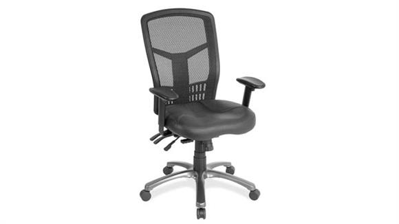 Office Chairs Office Source Cool Mesh High Back Chair with Leather Seat and Aluminum Base