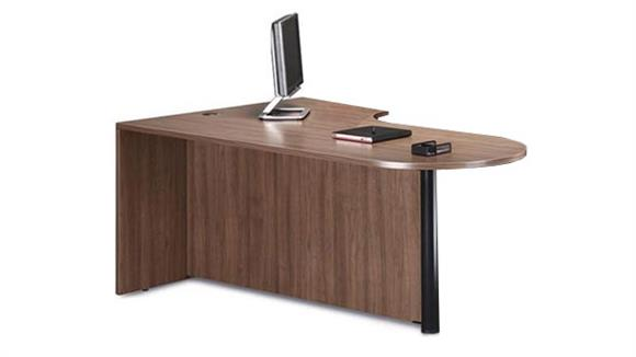 "Executive Desks Office Source 71"" Bullet Desk with Corner Extension"