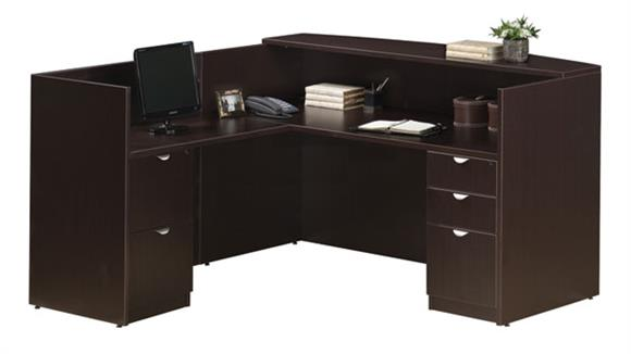 Reception Desks Office Source L Shaped Reception Desk with Full Pedestals
