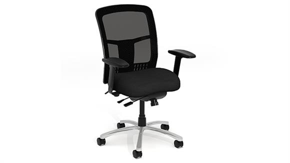 Office Chairs Office Source Cool Mesh High Back Chair with Fabric Seat, Black Mesh Back, Adjustable Arms plus Aluminum Base