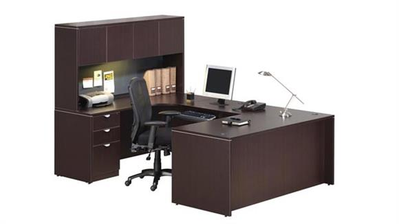 "U Shaped Desks Office Source 66"" U Shaped Desk with Hutch"