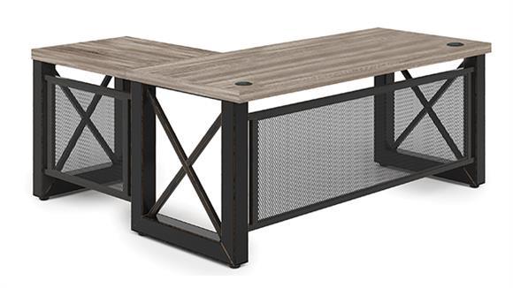 "L Shaped Desks Office Source 72"" x 60"" Industrial L Shaped Desk with Metal X Base"