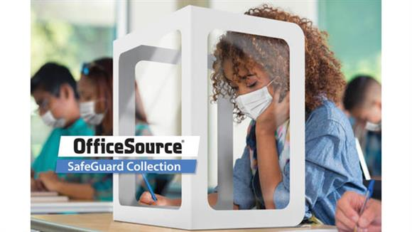 "Covid19 Office Sneeze Guards Office Source All Plastic Tri-Fold Screen with Window & Clear Side Panels - 20"" x 20"" Window"