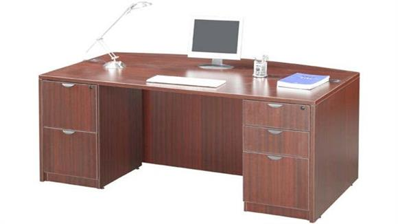 "Executive Desks Office Source 71"" Double Pedestal Bow Front Desk"
