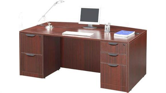 "Executive Desks Office Source 66"" Double Pedestal Bow Front Desk"