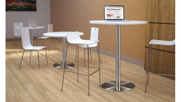 "Cafeteria Tables Office Source 24"" Round Cafe Height Table with Brushed Aluminum Base"