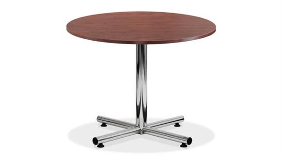 "Cafeteria Tables Office Source 48"" Round Cafeteria Table with Chrome Base"