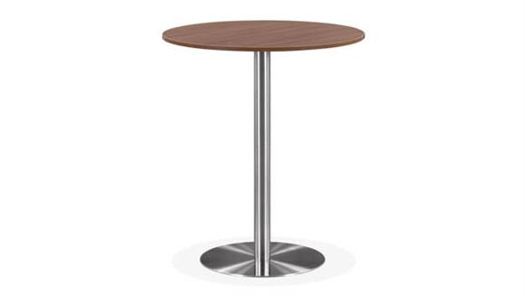 "Cafeteria Tables Office Source 36"" Round Cafe Height Table with Brushed Aluminum Base"