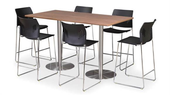 "Cafeteria Tables Office Source 30"" x 66"" Rectangular Cafe Height Table with Brushed Aluminum Base"