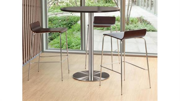 """Cafeteria Tables Office Source 36"""" Round Cafe Height Table with Brushed Aluminum Base"""