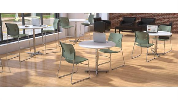 "Cafeteria Tables Office Source 36"" Round Cafeteria Table with Chrome Base"