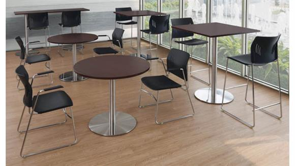 """Cafeteria Tables Office Source 36"""" Round Cafeteria Table with Brushed Aluminum Base"""