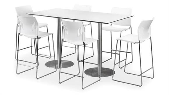 "Cafeteria Tables Office Source 30"" x 72"" Rectangular Cafe Height Table with Brushed Aluminum Base"