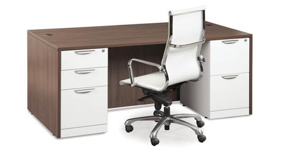 "Executive Desks Office Source 66"" x 30"" Double Pedestal Desk"