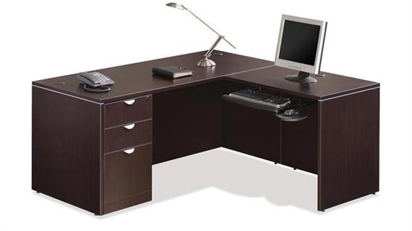 "L Shaped Desks Office Source 60"" x 65"" Single Pedestal L Shaped Desk"