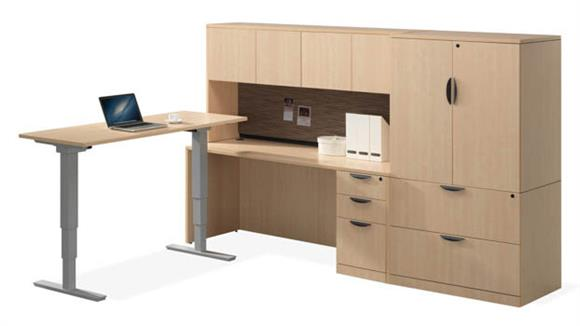 Workstations & Cubicles Office Source Workstation with Adjustable Height Desk