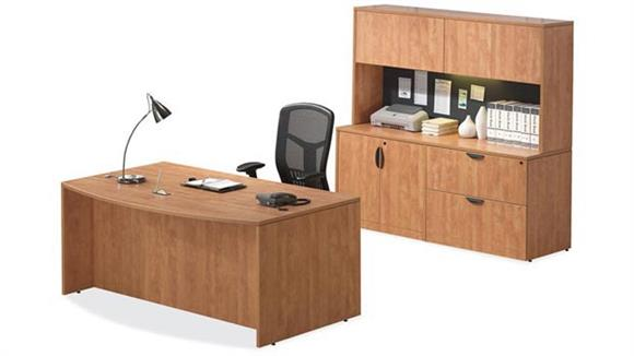 Executive Desks Office Source Bow Front Desk with Storage