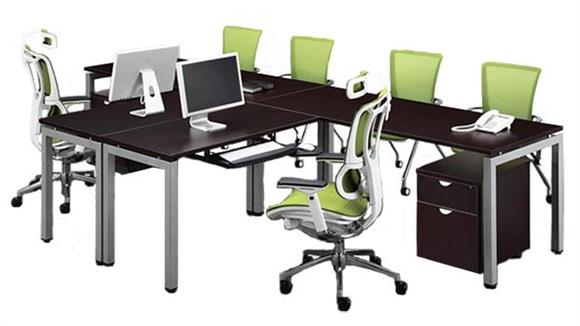 "L Shaped Desks Office Source 120"" 2 Person L Shaped Table Desk"