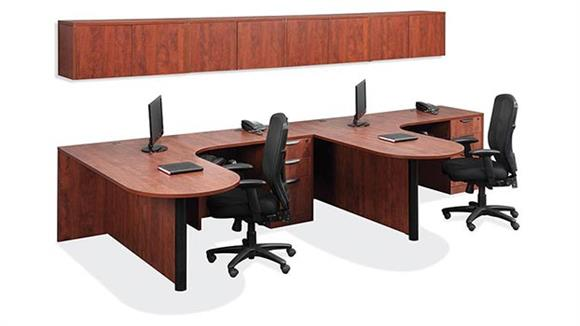 Workstations & Cubicles Office Source Double Workstation with Wall Storage
