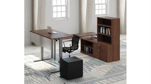 Adjustable Height Desks & Tables Office Source Sit to Stand Desk with Storage Workstation