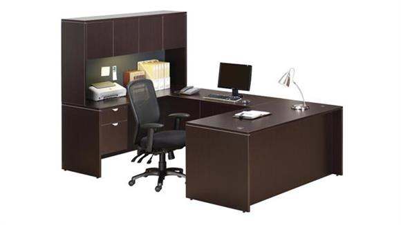 "U Shaped Desks Office Source 71"" U Shaped Desk with Hutch"