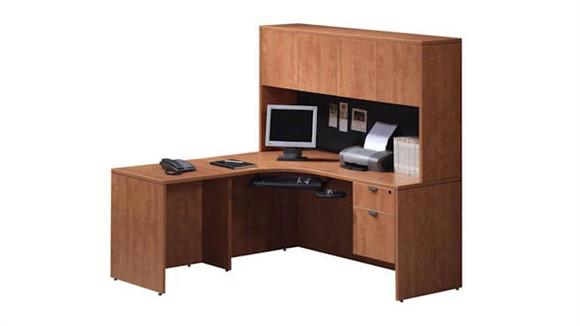 "Corner Desks Office Source 66"" Corner Desk with Hutch"