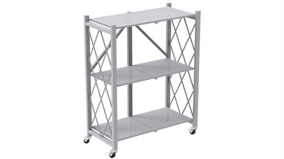 Bookcases Office Source Mobile Folding Metal Bookcase with 3 Shelves