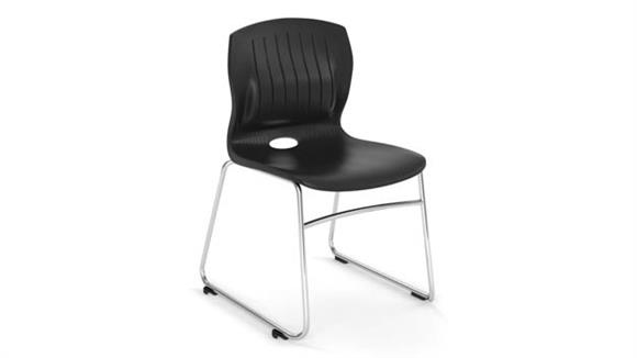 Side & Guest Chairs Office Source Armless Sled Base Stack Chair