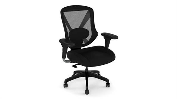 Office Chairs Office Source Mid Back Mesh Task Chair with Fabric Seat and Black Base