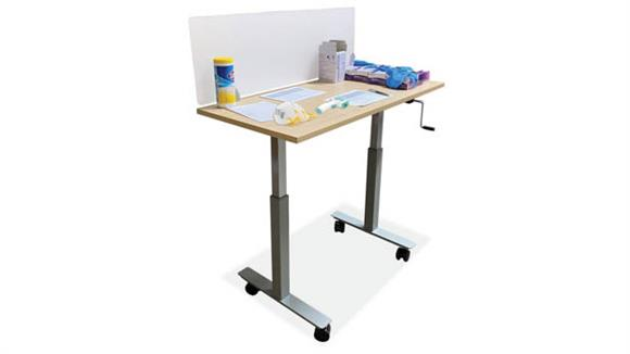 """Covid19 Office Sneeze Guards Office Source 48"""" x 24"""" Adjustable Height Table with Sneeze Guard"""