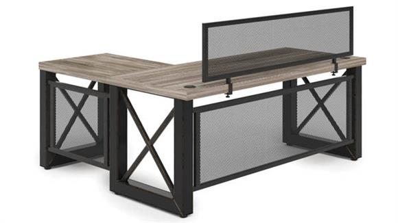 """L Shaped Desks Office Source 60"""" x 60"""" Industrial L Shaped Desk with Metal X Base and Privacy Panel"""