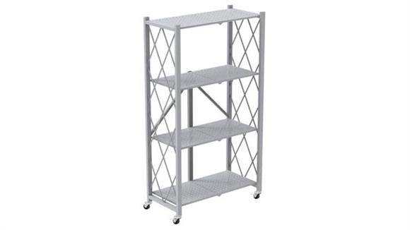 Bookcases Office Source Mobile Folding Metal Bookcase with 4 Shelves