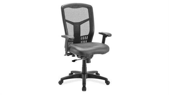Office Chairs Office Source Cool Mesh Synchro High Back Chair with Leather Seat Slider and Black Frame