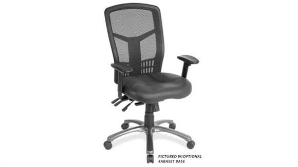 Office Chairs Office Source Cool Mesh High Back Chair with Leather Seat, Black Mesh Back, Adjustable Arms plus Aluminum Base