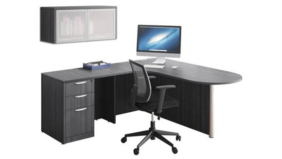 L Shaped Desks Office Source L Shaped Desk Unit with Wall Mount Hutch
