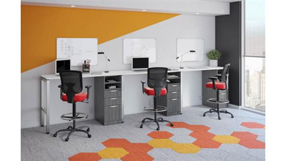 Workstations & Cubicles Office Source 3 Person Sit-to-Stand Workstation