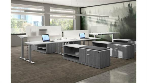 Standing Height Desks Office Source 5 Person Standing Desk Workstation