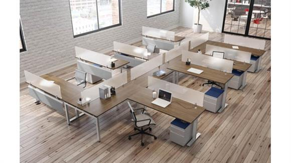 Standing Height Desks Office Source 8 Person Standing Desk Workstations